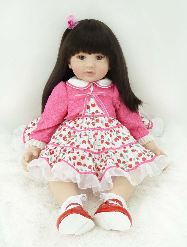 60cm Silicone Vinyl Reborn Baby Doll Toys 24inch Sweet Princess Girl Alive Bebe Doll Play House Toy Child Kids Birthday Gifts high end soft vinyl reborn doll 55cm reborn baby toys kids birthday gifts play house diy for child juguetes
