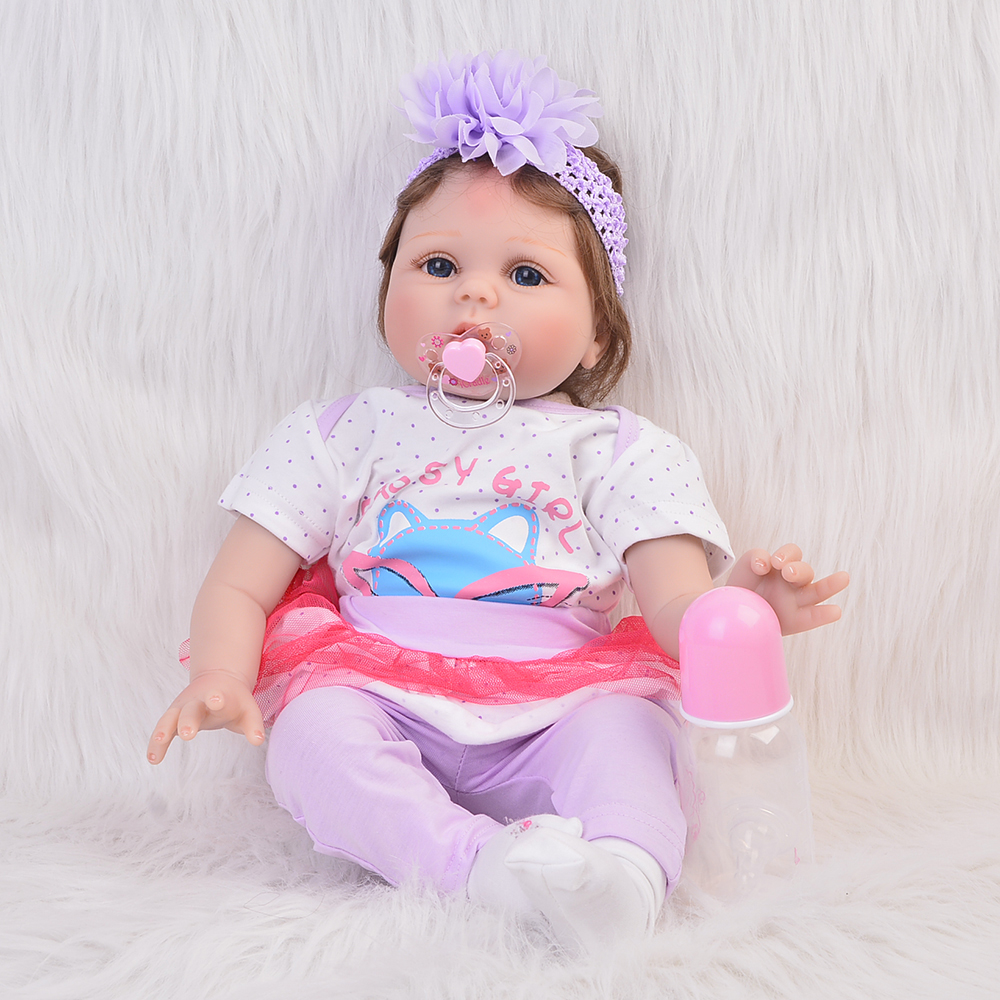 KEIUMI 22'' Soft Silicone Reborn Baby Dolls 55 cm Realistic Baby Girl Fashion Suffed Doll Touch Real Kdis Playmate Reborn Boneca купить в Москве 2019