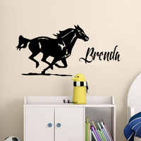 Horses Running Removable Vinyl Wall Sticker Custom Name Decals For Living Room Bedroom Kitchen Decor