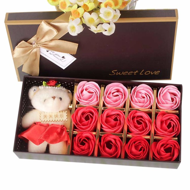 Valentines Day Present Soap Flower Gift Box Cute Bear And Rose Set Suprise Wedding Decoration BirthDay Gif