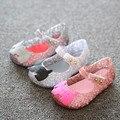 2016 novos sapatos da moda meninas Arco sandálias da geléia criança do sexo feminino sola macia sapatos princesa dedo aberto sandálias sapatas dos miúdos do bebê sapatos