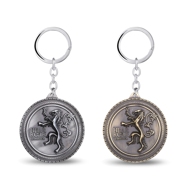MS JEWELS 6pcs Batch Game Of Thrones House Lannister Keychain Metal Key Rings Chaveiro Key Chain Fans Gifts Wholesale Promotion
