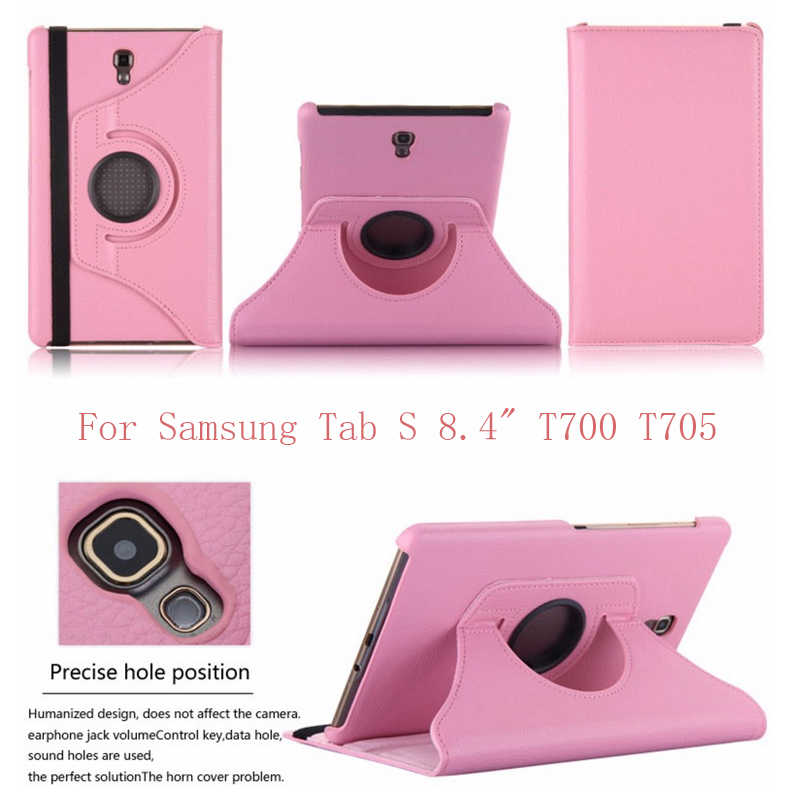 360 Derajat Berputar Smart Case untuk Samsung Galaxy Tab S 8.4 T700 T705 T705C Coque Funda PU Leather Flip Stand tablet Cover
