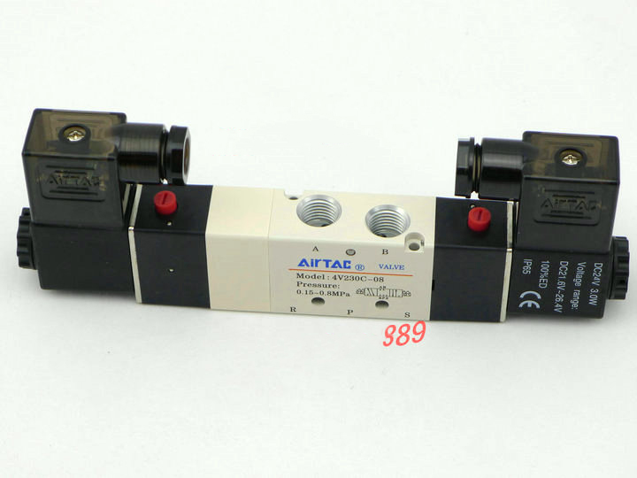 2PCS Free Shipping 1/4 2 Position 5 Port Air Solenoid Valves 4V230P-08 Pneumatic Control Valve , DC24v AC36v AC110v 220v 380v free shipping solenoid valve with lead wire 3 way 1 8 pneumatic air solenoid control valve 3v110 06 voltage optional