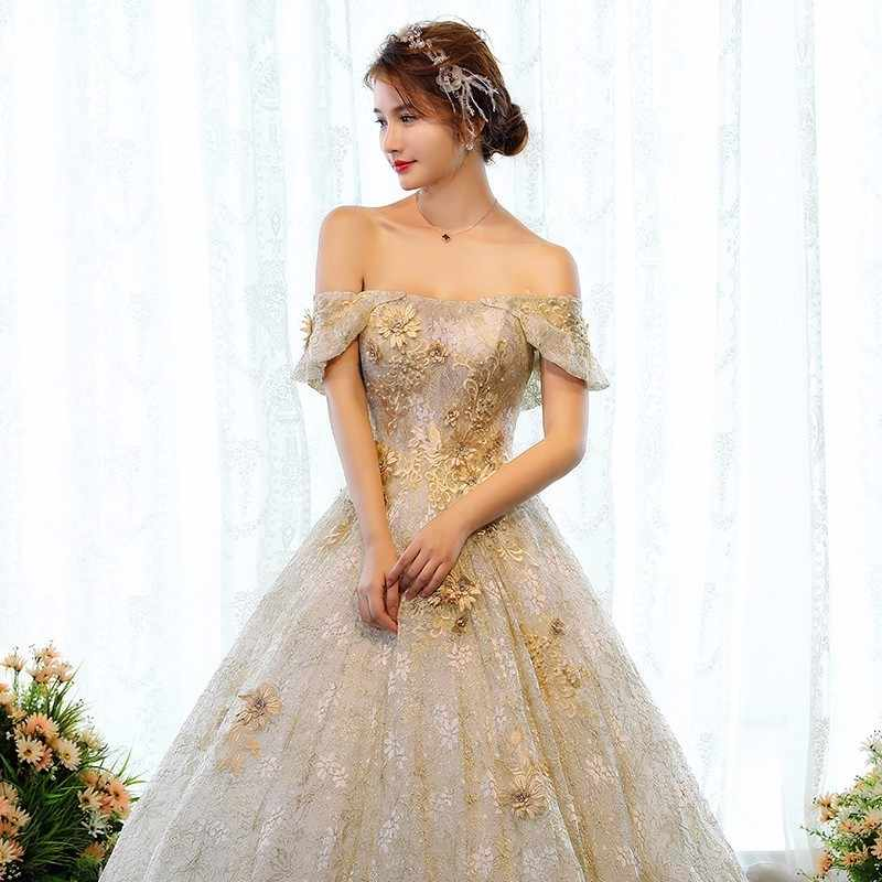 Свадебные платья роскошный кружева Дубай Свадебные платья 2018 золото цветы царский поезд Свадебные платья Плюс Размеры Vestido De novia
