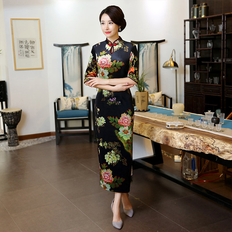 Amélioration Style Section 1 Hiver Costumes Cheongsam Banquet 3 Quotidienne M 2 Longue Rétro Plus Automne Taille Mère Chinois 3xl Robe Aj34L5Rq