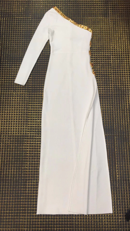 Rayonne Bandage Élégant Designer Parti Long Blanc Sexy Sqeuins Robe Maxi Douille Épaisse Femmes Qualité Haute Une 1qA40Ox
