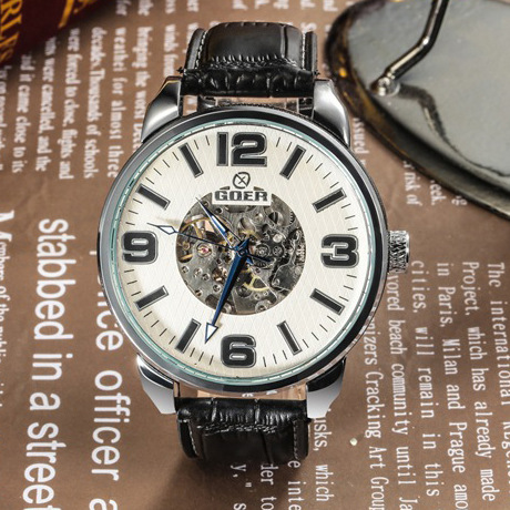 GEOR brand leather machinery Men s Automatic Watch waterproof Luminous digital Skeleton male Wrist watch