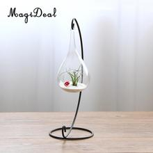 MagiDeal Beautiful Clear Glass Hanging Teardrop Vase For