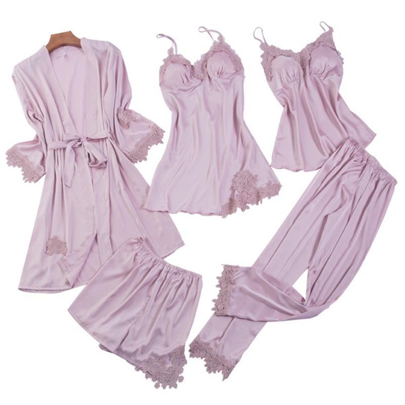Satin 5 Pieces Pajamas Set Women Silk Sleeveless Tops Pants Robes Gowns Shorts Sexy Lingerie Sleepwear
