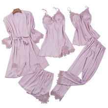 Satin 5 Pieces Pajamas Set Women Silk Sleeveless Tops + Pants + Robes + Gowns + Shorts Sexy Lingerie Sleepwear Nightgown Winter(China)