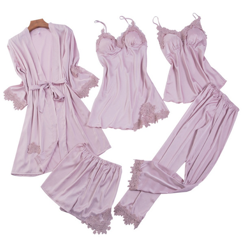 Satin 5 Pieces   Pajamas     Set   Women Silk Sleeveless Tops + Pants + Robes + Gowns + Shorts Sexy Lingerie Sleepwear Nightgown Winter