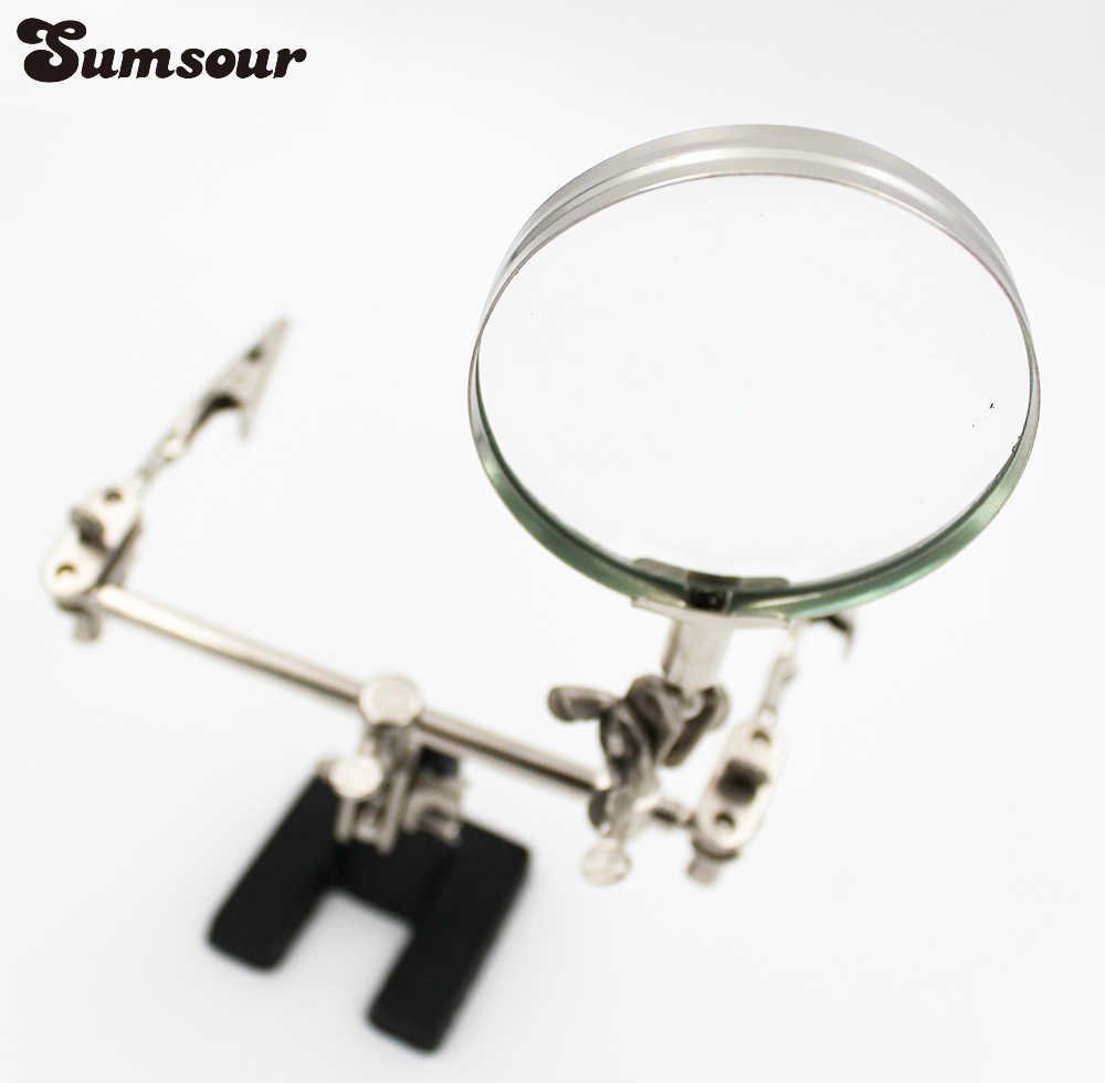 New 3 in 1 Welding Magnifying Glass Auxiliary Clip Magnifier Soldering Solder Iron Stand Holder Station Rework Repair Tool