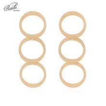 Badu Gold Stainless Steel Big Earrings for Women Hollowing Round 3 Layers Dangle Earring Punk Jewelry Rock & Roll Wholesale