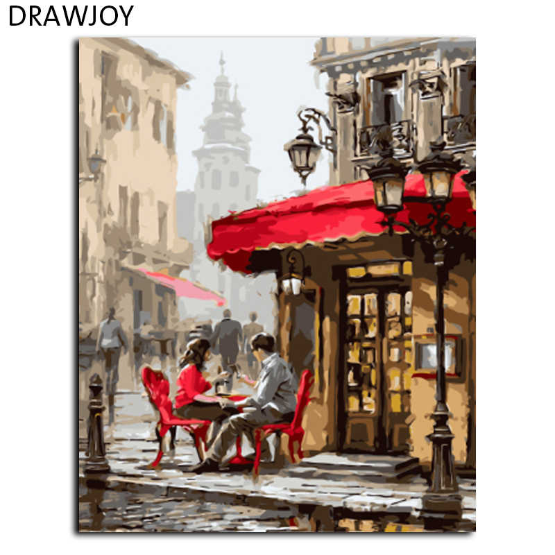 DRAWJOY New Framed Home Decor Painting By Numbers Hand Painting Oil On Canvas For Living Room  Wall Sticker Lover GX8089