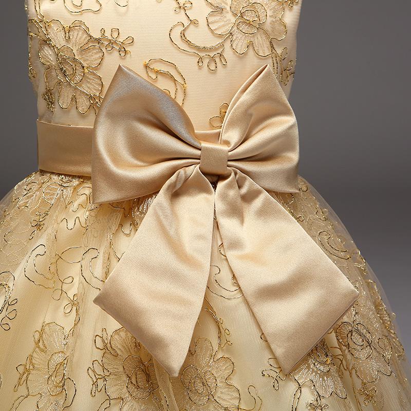 розничная продажа новое поступление 2017 года летнее платье для девочек рекомендуется высокого класса изысканный вышивка шампанское платье с цветочным узором для девочек l9027