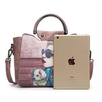 Handbag Women Handbag Female Leather Cartoon Printed Handbags Women's bags for Ladies Autumn New High quality