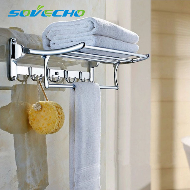 SOVECHO 60cm stainless steel towel rack towe shelf Towel bar folding ...
