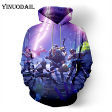 100cm-150cm Children Fleece Battle Royale Game 3D Printed Hoodies Streetwear Hip Hop Warm Hooded Men Hoodie FORTNITER for Kids