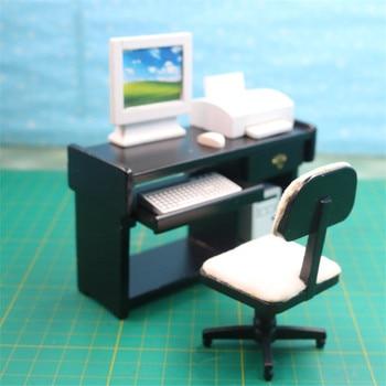 деревянные компьютерные столы | 1:12 кукольный домик мебель игрушка миниатюрный деревянный Мини Компьютерный стол набор имитация мебель ролевые игры игрушки для девочек ку...