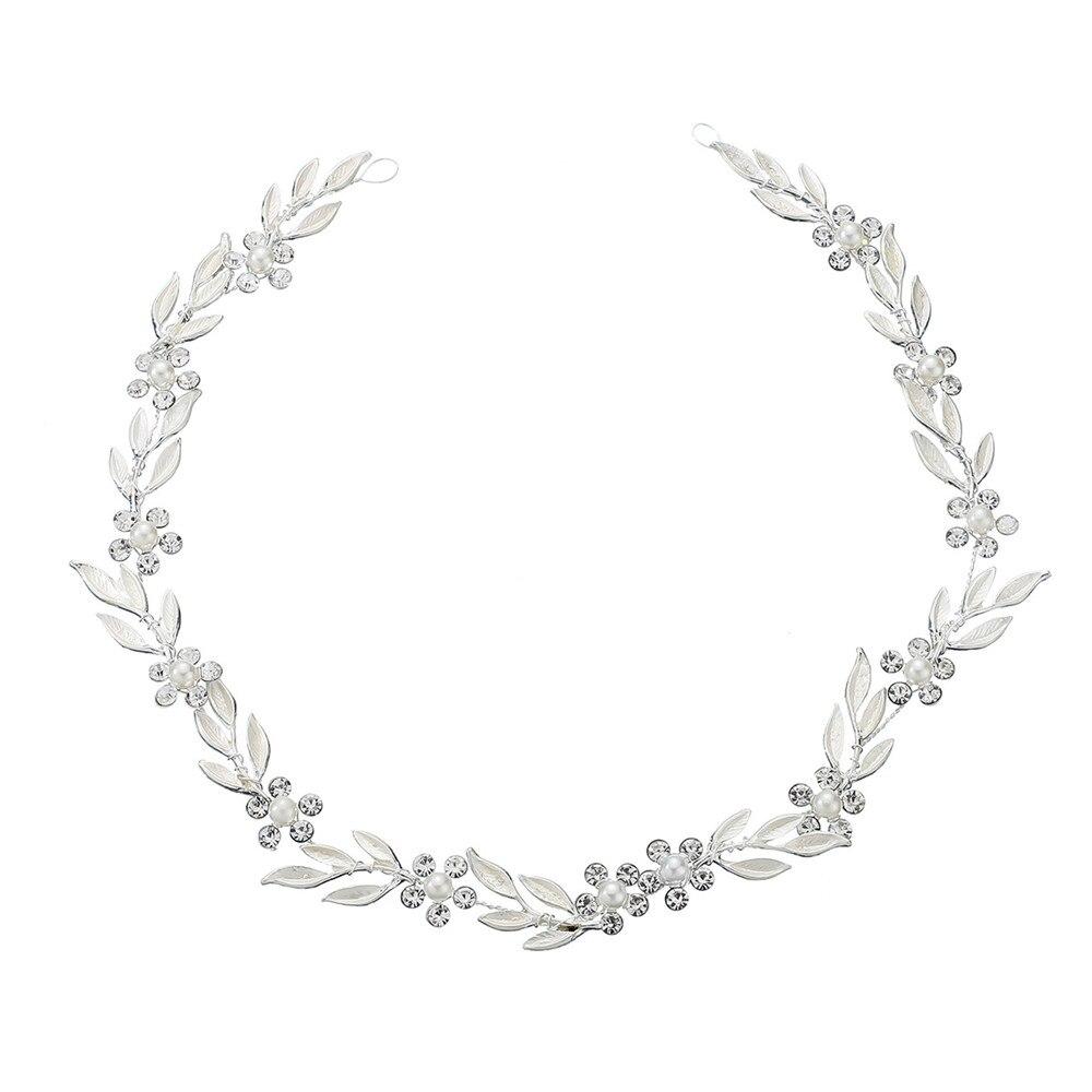 Wedding Headband Beaded Leaf Prom Bridal Hair Band Gold Leaf Pearl Bride Headpiece For Women Hair Jewelry in Hair Jewelry from Jewelry Accessories