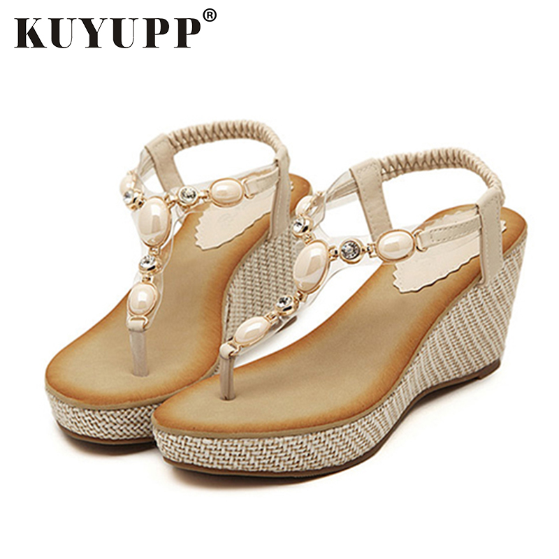 KUYUPP Fashion Women Sandals Bohemia diamond Wedges Gladiator Beach Sandal Flip Flops summer student shoes Sandals women YDT533 phyanic 2017 gladiator sandals gold silver shoes woman summer platform wedges glitters creepers casual women shoes phy3323