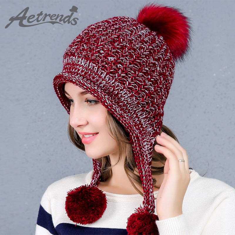 [AETRENDS] 2017 Winter Beanie Hats for Women Warm Knitted Female Caps Beanies Pompom with Ball Z-6052 2016 new beautiful colorful ball warm winter beanies women caps casual sweet knitted hats for women outdoor travel free shipping