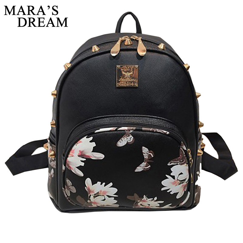 цены на Mara's Dream 2017 Women Backpacks 3D Printing Floral PU Leather Rivet Backpack Female Trendy Designer School Bags Teenagers Girl в интернет-магазинах