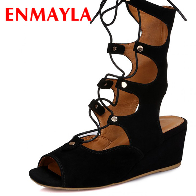 ENMAYLA Mid-Calf Summer Boots Women Gladiator Sandals Women Wedges Heels Shoes Woman Sandals Black Apricot Open Toe Sandals phyanic 2017 gladiator sandals gold silver shoes woman summer platform wedges glitters creepers casual women shoes phy3323