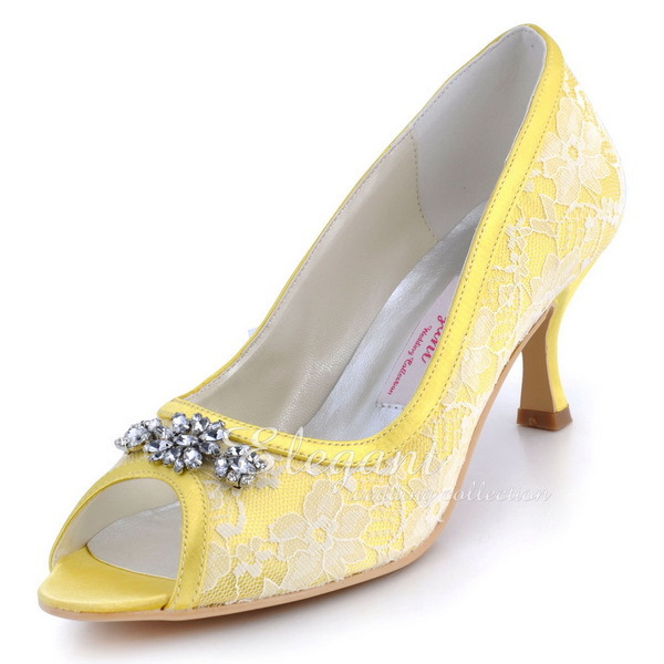 Woman Shoes Mid Heel Wedding AJ55 Yellow Size 40 Peep Toe Rhinestone Lace Comfortable Lady bride prom party bridal pumps fashion white lady peep toe shoes for wedding graduation party prom shoes elegant high heel lace flower bridal wedding shoes