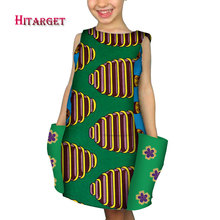 african children Clothing for cute girl Dashiki African Wax Print Splice dress with Sleeveless have big pockets  WYT230
