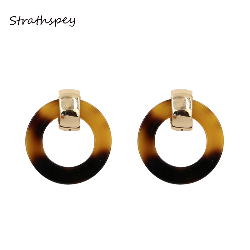 STRATHSPEY Geometric Classic Acrylic Double Circle Drop Earrings Brown Color Metal Exquisite Dangle Earrings Jewelry For Women
