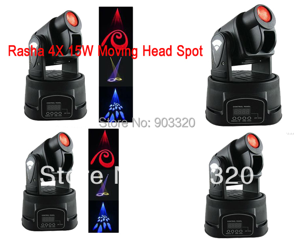 4X LOT 15W  LED Mini Moving Head Spot Light,Moving Stage Moving Head GOOS,Stage Effect Light for Bar,KTV,Hotel niugul dmx stage light mini 10w led spot moving head light led patterns lamp dj disco lighting 10w led gobo lights chandelier