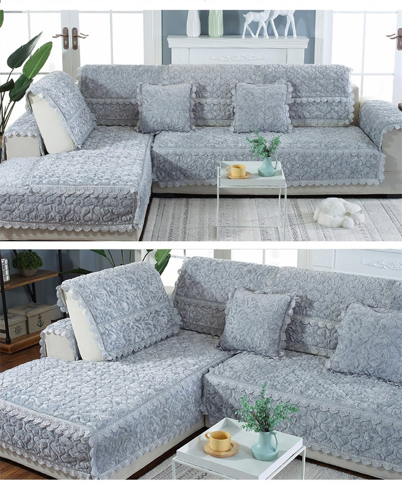 Thick Slip Resistant Couch Cover for Corner Sofa Made with Plush Fabric Including Lace for Living Room Decor 13