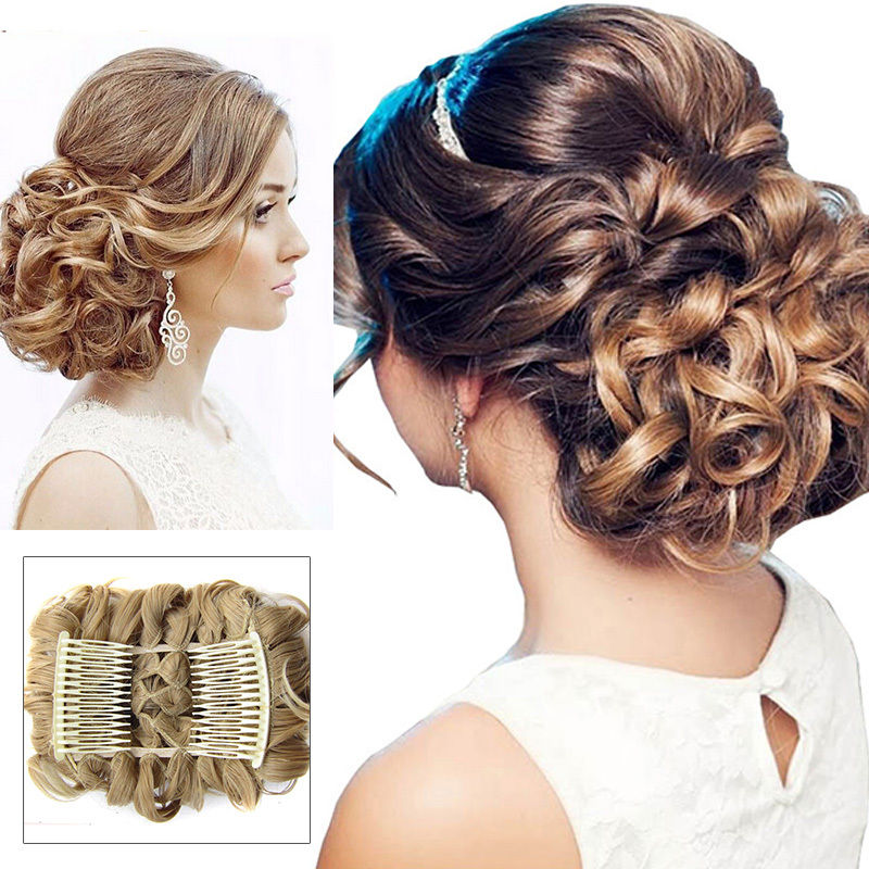 Begonia.K 41 Colors Women Fashion Curly Chignon Comb Hair Extension Hairpiece wig Clip In Claws pin crown tiara Hair Accessories
