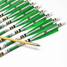 12pcs 31″ Wooden Arrows with green Turkey feathers for Shooting Recurve bow