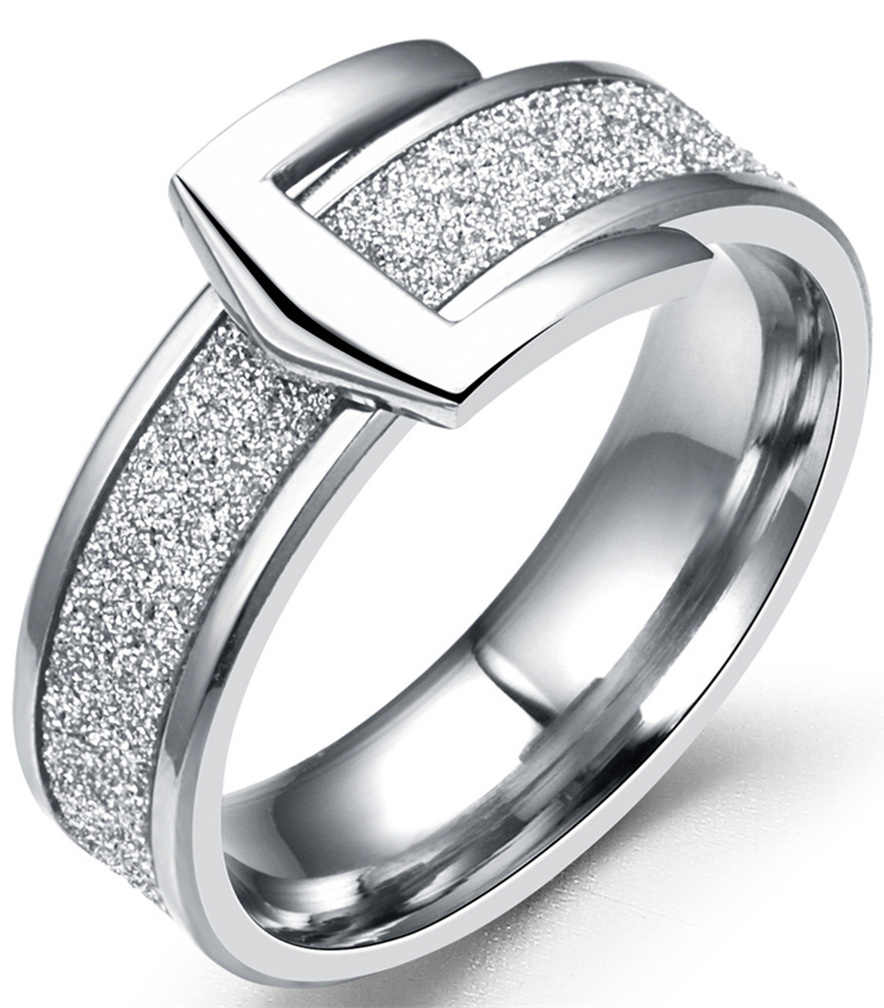 6mm Stainless Steel Scrub Ring Wedding Engagement Buckle Rings for Women