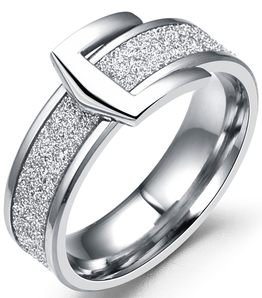 Le Baiser Jewelry Store 6mm Stainless Steel Scrub Ring Wedding Engagement Buckle Rings Men Women