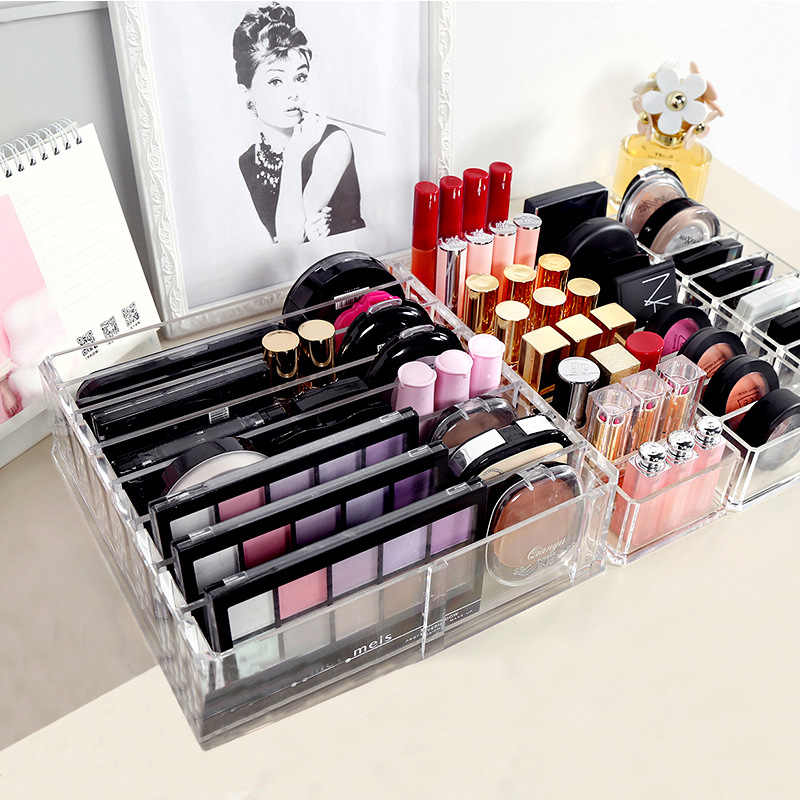 Transparent Acrylic Makeup Organizer Lipsticks Makeup Brush Holder Power Box Beauty Blender Sponge Holder Case for Cosemtic