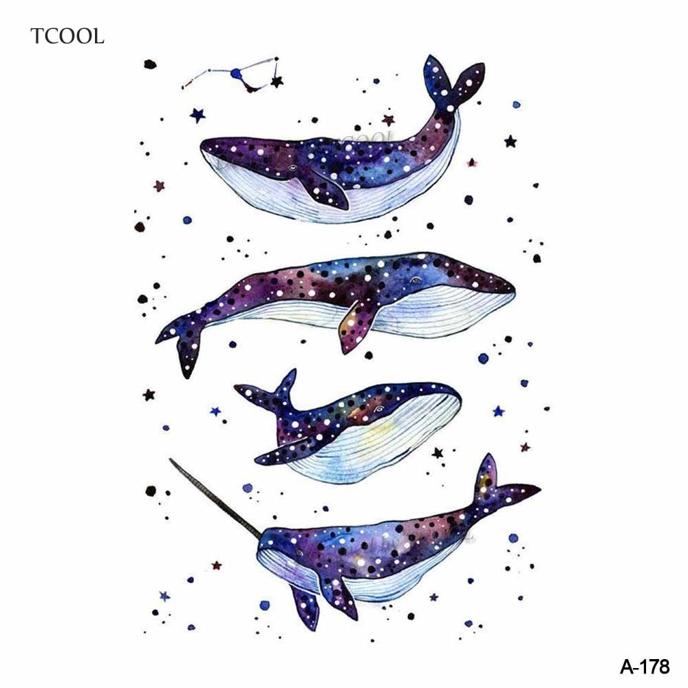 HXMAN Colorful Whale Temporary Watercolor Tattoo Sticker Waterproof Women Fake Body Art Tattoos 9.8X6cm Kids Hand Tatoo A-178