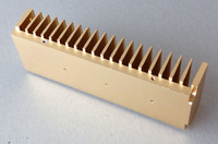 All Aluminum Radiator With Gold Color 200mmx40mmx68mm For Amplifier HIFI Aluminum Heatsink