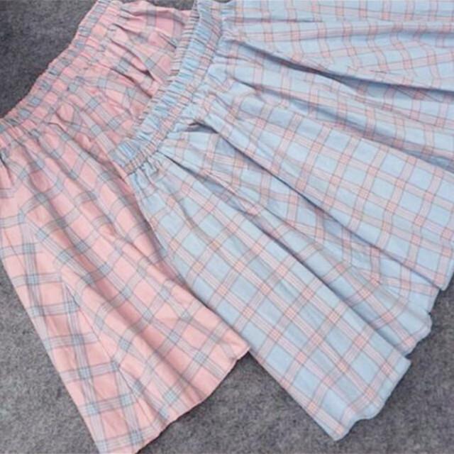 2017 Mujeres del verano del Estilo de Japón kawaii El enrejado del todo-fósforo mini falda azul a cuadros de color rosa faldas estudiantes falda grande columpio
