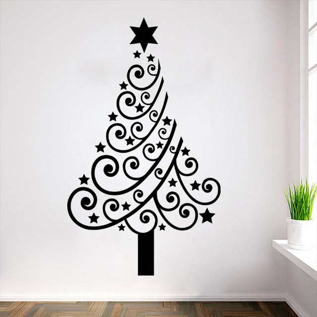 hot design stars roll christmas tree wall sticker new year vinyl wall decal for living room