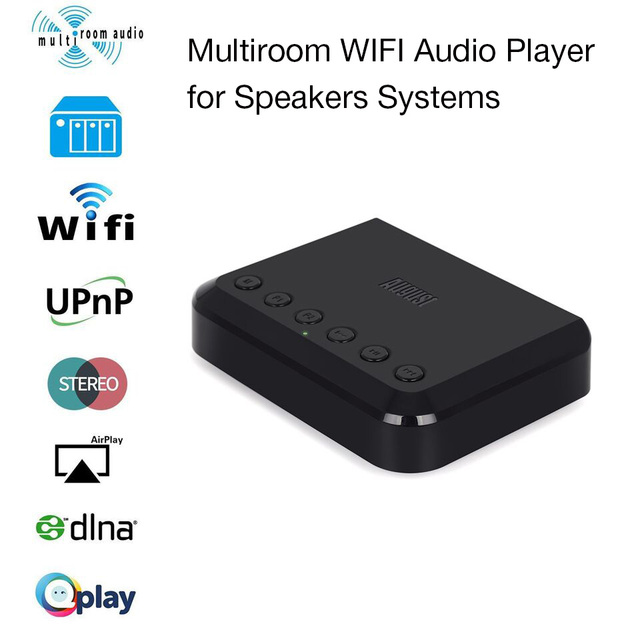 US $88 1  August WR320 Wireless WIFI DLNA Airplay Receiver for Wired  Speaker/Amplifier Multiroom Music Audio Adapter with Optical Cable-in  Wireless