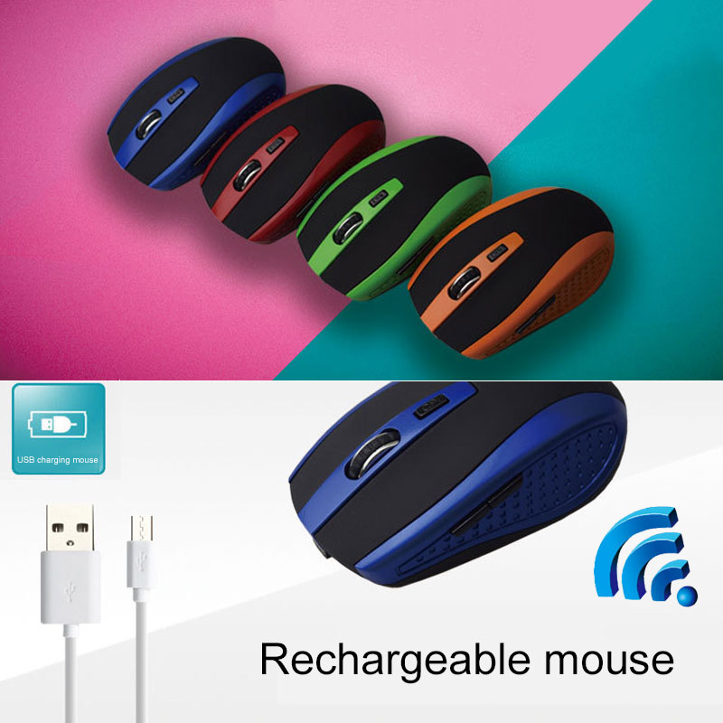 USB Wireless Gaming Mouse Built-in Rechargeable Battery for PC Laptop Computer 8 DJA99 rechargeable wireless mouse 2 4g 2400 dpi slient button gaming mouse built in battery with charging cable for pc laptop computer