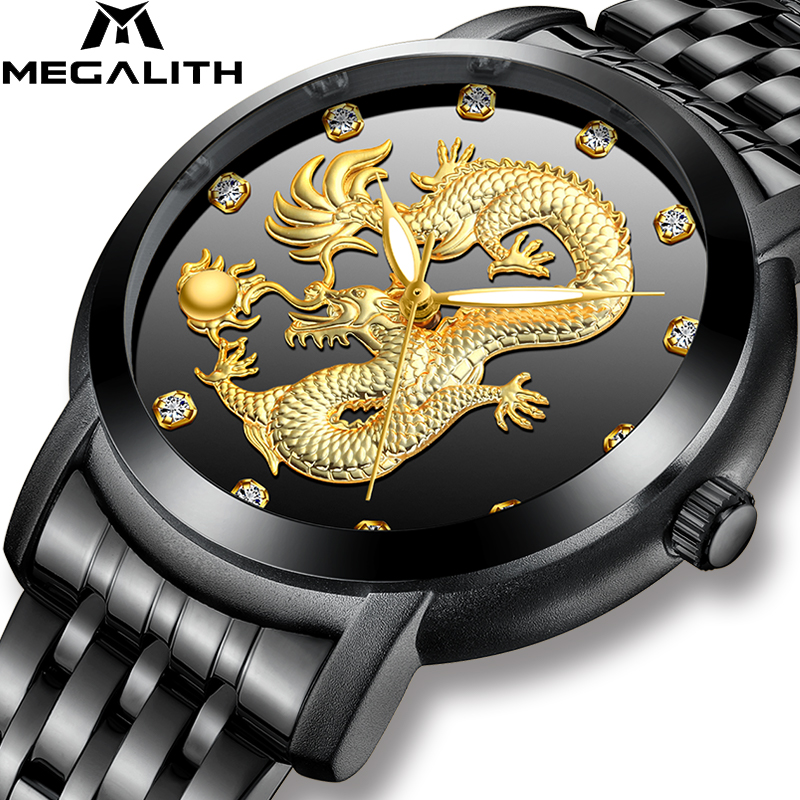 MEGALITH Luxury Gold Dragon Sculpture Watch Men Waterproof Stainless Steel Strap Quartz Watch Big Dial Watches Men Reloj HombreMEGALITH Luxury Gold Dragon Sculpture Watch Men Waterproof Stainless Steel Strap Quartz Watch Big Dial Watches Men Reloj Hombre