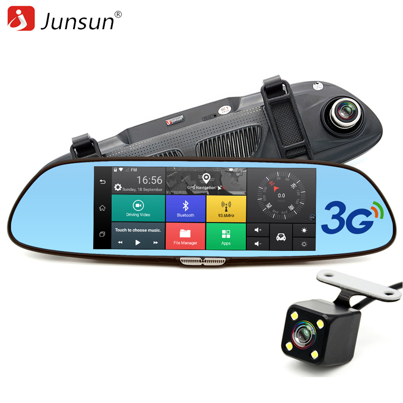 Junsun 7 3G Car Camera DVR GPS Bluetooth Dual Lens Rearview Mirror Video Recorder Full HD 1080P Automobile DVR Mirror Dash cam 5 inch car camera dvr dual lens rearview mirror video recorder fhd 1080p automobile dvr mirror dash cam