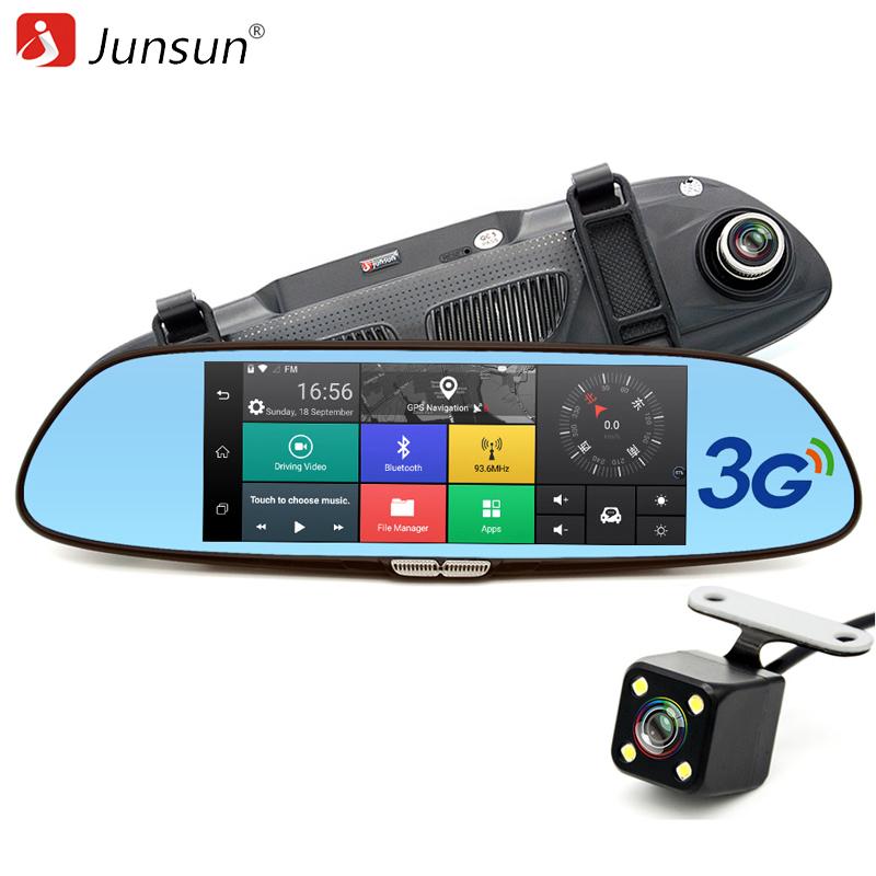 """Prix pour Junsun 7 """"3G Voiture Caméra DVR GPS Bluetooth Double Lentille Rétroviseur Enregistreur Vidéo Full HD 1080 P Automobile DVR Miroir Dash cam"""
