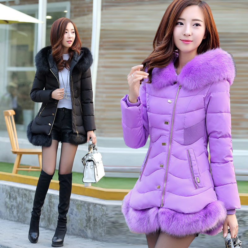 Winter Jacket Women 2016 Winter Coat Women Long Style Fur Collar Down Cotton Parkas Coat Fashion Casual Warm Parkas Coat A3879 factory outlets 2014 new winter in europe and america women british style stitching cotton quilted jacket short parkas coat