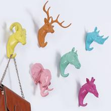 Deer koń słoń głowy żyrafą zwierzęciem stojaki wystawowe na ubrania hak wieszak na płaszcze czapka pokój Deco kluczowe i ozdobne haki tanie tanio Perilune Silikonowe Cartoon zwierząt